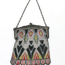 Whiting Davis Art Deco Metal Mesh Bag Aztec Purse Frame Chain Strap Kiss Lock  Photo