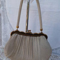 Whiting & Davis Beige Ivory Mesh Evening Bag Purse Scalloped Frame Stamped 2911 Photo