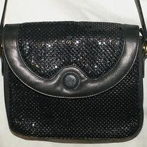 Whiting & Davis Black Flap Metal  Mesh Shoulderbag Purse Handbag  Bag Photo