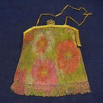 Whiting & Davis Co. Mesh Bag Painted Flowers      Photo