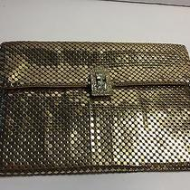 Whiting & Davis Co Small Gold Metal Mesh Rhinestone Clasp Evening Clutch Purse Photo