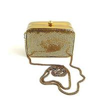 Whiting & Davis Gold Mesh Box Clutch Metal Shoulder Crossbody Evening Bag  Photo