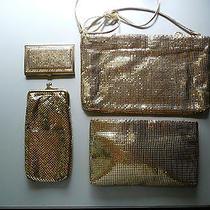 Whiting & Davis Gold Mesh Clutch Handbag-Zipper-Eyeglass Case-Business Card Case Photo