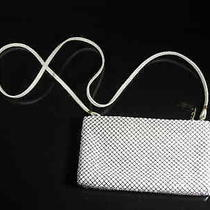 Whiting & Davis International White Metal Mesh Zip Purse Long Drop Photo