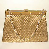 Whiting & Davis Matte Metal Mesh Gold Purse Handbag Large Photo