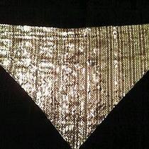 Whiting & Davis Mesh Bib-Style Necklace Silver and Mauve Photo
