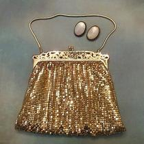 Whiting & Davis Mesh Evening Bag With Pair of Mother of Pearl Earrings Photo