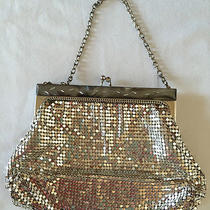 Whiting & Davis Mesh Purse Bag Silver Deco Clutch Etched Mother Pearl Frame Photo