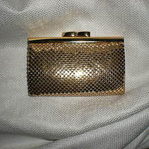 Whiting & Davis Mesh Vintage Framed Leather Wallet Gold  Key Card Clutch Mini Photo