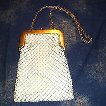 Whiting & Davis Metal Mesh Handbag Evening Purse Cream Enamel Excellent Cond. Photo