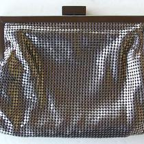 Whiting Davis Metallic Pewter Mesh Cross Body Purse Handbag W 24