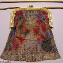 Whiting & Davis Painted Abstract Floral Mesh Flapper Purse Photo