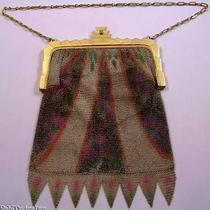 Whiting & Davis Painted Geometric Mesh Flapper Purse Photo