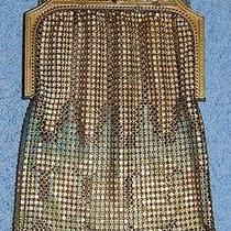 Whiting & Davis Purse - Gold Tone Mesh - Ivory Blue & Green Design - ... Lot 32 Photo