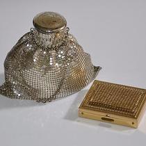 Whiting & Davis Set Mesh Gate Top Beggars Purse Gold Mesh Pill Box Compact Vint Photo
