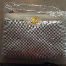 Whiting & Davis Shoulder Bag- White Mesh & Leather  9hx12lx2w Photo