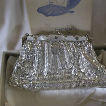 Whiting & Davis Silver Mesh Purse Jeweled Rhinestone  Mother of Pearl Clasp Photo