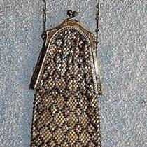 Whiting & Davis Silver Tone Mesh Purse W/ Black Diamond Pattern W/ Cha... Lot 59 Photo