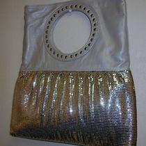 Whiting & Davis  Silver With Gray Lambskin Fold Over Clutch Handbag Nwot359 Photo