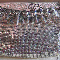 Whiting & Davis Stainless Mesh Shoulder Bag Satin Stainless Clasp With Design Photo