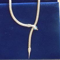 Whiting & Davis Style Gold Mesh Serpent Snake Belt Necklace Green Eyes Photo