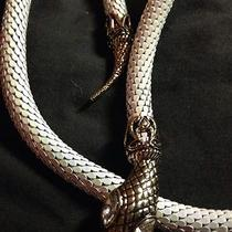 Whiting & Davis Style White Mesh Serpent Snake Belt Necklace Green Eyes Photo