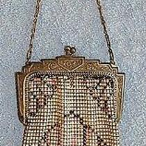 Whiting & Davis Tag in Purse - Silver Tone Mesh - Ivory Pink Black & ... Lot 33 Photo