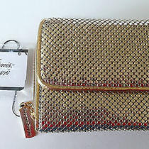 Whiting & Davis Trifold Wallet Gold Mesh Metal Id-Window Zip Pocket Card Slots Photo