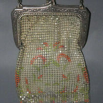 Whiting & Davis Vintage Mesh Evening Purse 1920s Flapper Silver With Enamel  Photo