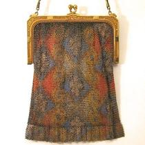 Whiting Davis Vintage Mesh Purse Painted Abstract Design Bag Handbag Photo