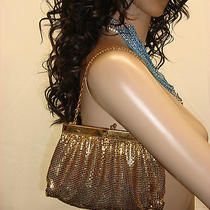 Whiting & Davis Vtg Gold Evening Bag Chainmail Purse 4 Hinged Tote Rare Sexy Photo