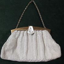 Whiting & Davis White Bubble Mesh Evening Bag Mother of Pearl Clasp Original Box Photo