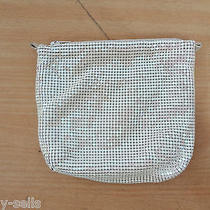 Whiting & Davis White Enamel Mesh Small Pouch Evening Bag Vintage No Strap Photo