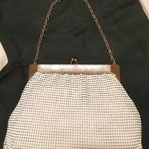 Whiting & Davis White Mesh Evening Bag Mother of Pearl Accent Serial  Gorgeous Photo