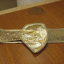 Whiting & Davis Wide Sash Belt--Gold Tone Metal Mesh & Leather-Made in Usa-Wow Photo