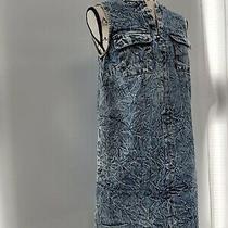 Who What Wear Womens White Blue Sleeveless Split Neck Denim Shift Dress Size Xs Photo