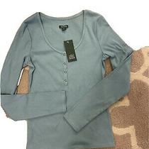 Wild Fable Women's Long Sleeve Henley T-Shirt Teal Blush Size Medium Nwt Photo