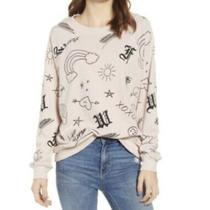 Wildfox Love Scribbles Doodle Blush Pink Quartz Sweatshirt Pull Over Jumper Szs Photo