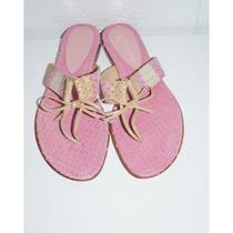 Will's Fancy Pink Snakeskin Thong Sandal W/ Tan Tie at Toe 8.5m Photo