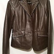 Willi Smith Small Brown Lamb Skin Studded Short Leather Jacket Photo