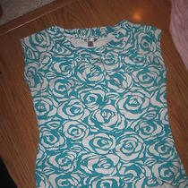 Willow Bay Aqua White Floral Ss Stretch Knit Top M Photo
