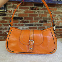 Wilson Leather Small Orange Hobo Silver Hardware Bag Purse Photo