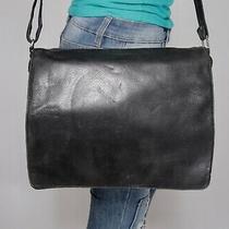 Wilsons Leather Medium Black Messenger Shoulder Hobo Tote Satchel Purse Bag Photo