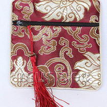 Wine Red Jewelry Pocket Money Silk Zipper Bags Pouches T874a03 Photo