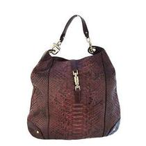 Wine Red Snakeskin Leather Shoulder Bag Photo