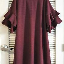 Wine Ruffle Layer Slev Knit Dress 1xl W/ Anthropologie Earrings Photo