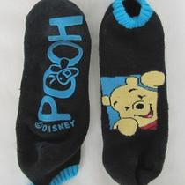  (Winnie The) Pooh 1 Pair Slipper Socks in Black/aqua  No Size  Worn Photo