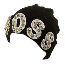 Winter Bling Bling Boss Jewel Chunky Soft Cuff Knit Beanie Skully Hat Ski Black Photo