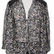 Winter Kate Black Sheer Batwing Sleeve Floral Kimono Silk Top Size Xs Photo