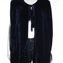 Winter Kate Dark Blue Velvet Feel Sleeveless Tie Front Cardigan Sweater Sz S Photo